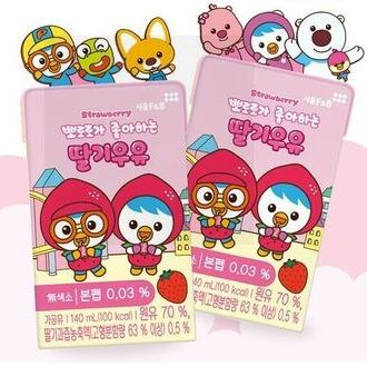 Pororo Strawberry Flavored Milk Drink_ Tetra pack 140ml